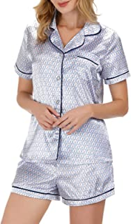 Zexxxy Satin Pajama Set for Women Notch Collar Button Down Printed Sleepwear S-XXL