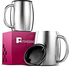 Insulated Stainless Steel Coffee Mug with Lid and Handle (2 Pk) 14 oz.- BPA-Free Spill Proof Lid, Double Wall Camping Travel Coffee Mugs Tough & Shatterproof, Keeps Coffee/Tea Hot And Beer Cold Longer