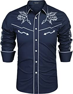 COOFANDY Mens Western Cowboy Shirt Embroidered Denim Long Sleeve Casual Button Down Shirt