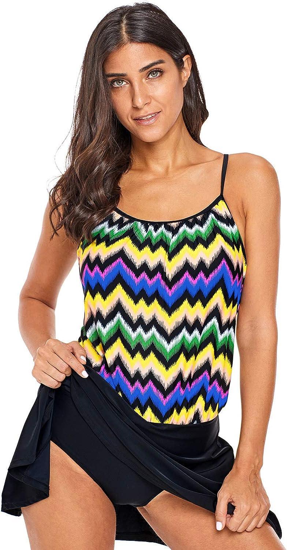 YOUBUY Women One-Piece Swimwear Striped Printed Swimsuit Tummy Control Bathing Suit Swim Dress