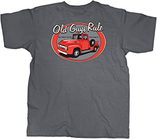 T Shirt for Men | Red Truck | Cool, Funny Graphic Tee for Dad, Husband, Grandfather Gift | Charcoal