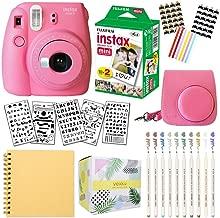 Fujifilm Instax Mini 9 Instant Camera (Flamingo Pink) + Fuji INSTAX Film (20 Sheets) + Bundle with: Groovy Camera Case + Scrapbook Photo Album + Stencils + Metallic Markers + Photo Corners