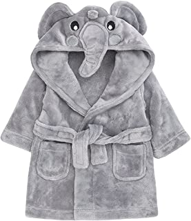 Childrens/Toddlers Soft Fleece Dressing Gown with Animal Hood ~ 6-24 Months