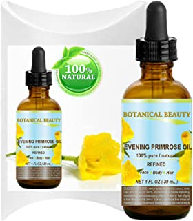 EVENING PRIMROSE OIL. 100% Pure/Natural/Undiluted/Refined/Cold Pressed Carrier Oil. 1 Fl.oz.- 30 ml. Rich antioxidant to rejuvenate and moisturize the skin and hair.