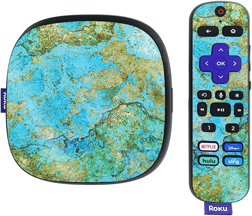 MightySkins Glossy Glitter Skin Compatible with Roku Ultra HDR 4K Streaming Media Player (2020) - Teal Marble   Protective, Durable High-Gloss Glitter Finish   Easy to Apply   Made in The USA