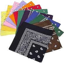 BMC 12pc Multicolor Cotton Fabric Extra Large 21 Inch Square Bandannas