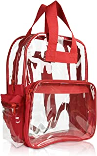DALIX Clear Backpack Bags Smooth Plastic in Red