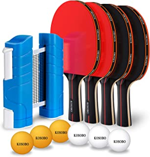 KOSOBO Ping Pong Paddles, with a Retractable Net, 6 Table Tennis Balls, Premium Table Tennis Set for Home, Office and Outdoor Playing