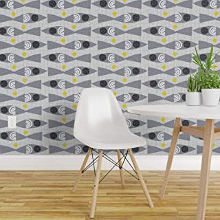 Spoonflower Pre-Pasted Removable Wallpaper, Mod Fish Mid Century Scandinavian Vintage Ocean 50S Retro Modern Fishes Print, Water-Activated Wallpaper, 24in x 108in Roll