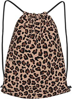 Leopard Drawstring Backpack,Sports Gym Lightweight Waterproof Drawstring Backpack for Women 14x16.9inch