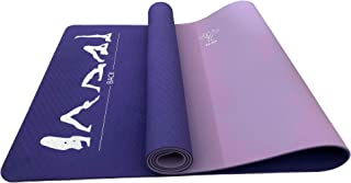Elda Yoga Mat with Standard Exercise Poses for Home Fitness or Gym Workout, Double-Sided Eco Friendly, Non-Slip, 1/4 inch Pro Yoga Mat for Hot Yoga, Pilates, and Floor with Carrying Strap