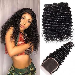 MQYQ 9A Brazilian Deep Wave 3 Bundles with Closure (14 16 18+12) 100% Unprocessed Human Hair Bundles with Lace Closure Free Part Loose Wave Hair Weave Bundles Natural Color