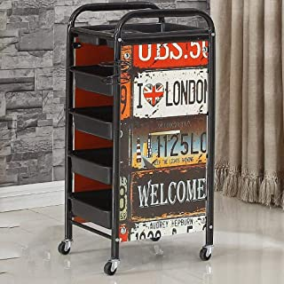 5-Tier Small Trolley with Casters,Number Pattern Iron Bedside Storage Caddy with Ergonomic Handles for Trolley