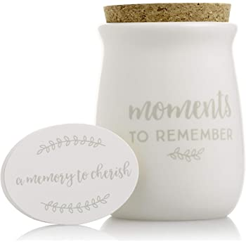 Amazon Com Pearhead Gratitude Jar Ceramic Blessings Keepsake Jar With Cork Topper Memories To Cherish Notecards Personalized Gift Idea For Families Couples Unique Thoughtful Gift Ceramic Home Decor White Baby