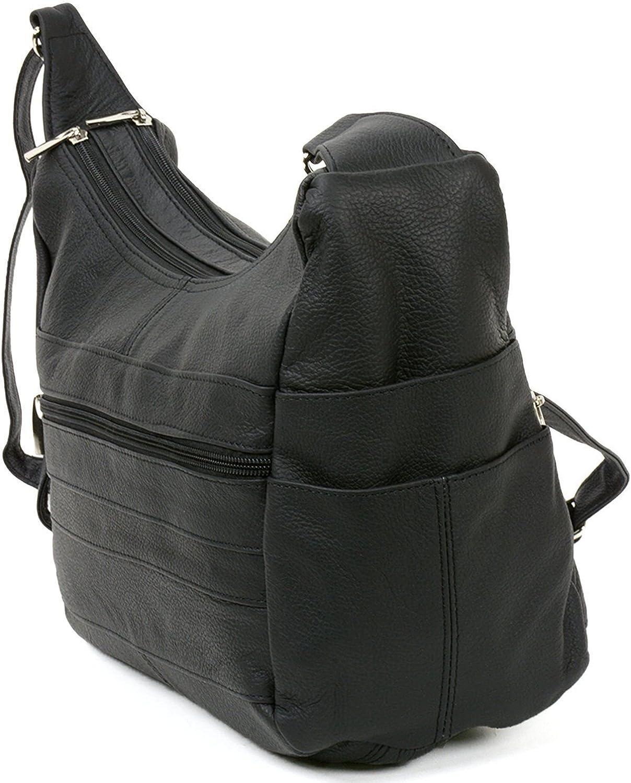 Women's Genuine Leather Purse Adjustable Strap Mid Size Multi Pocket Shoulder Bag (Black)