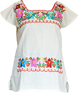 Autentic Traditional Women's Mexican Peasant Blouse Cotton Tops Shirt Embroidered on Looms of Mexican artisans (Medium,Beige)