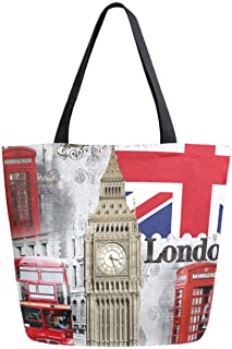 ZzWwR Chic Fashion London Big Ben Telephone Booth Vintage Extra Large Canvas Beach Travel Reusable Grocery Shopping Tote B...