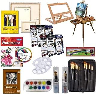 مجموعه نقاشی های هنرمند W / جدول بالا و کامل ، برس برس نقاشی ، لوله های رنگی ، لنت های نقاشی ، بوم کشیده ، چاقوی نقاشی روغن ، آبرنگ ، نقاشی اکریلیک و طرح هنری