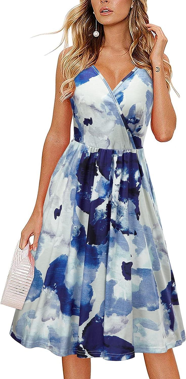 II ININ Women' s V Neck Spaghetti Strap Summer Casual Midi Dresses Wrap Swing Sundress with Pockets