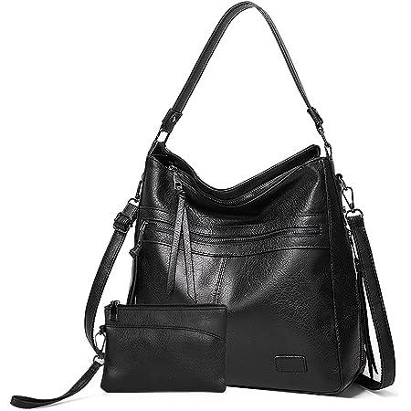 Gladdon Handtaschen Damen Leder umhängetasche Shopper Mode Hobo Taschen grosse Kapazität Schultertasche Designer Mehrfachtasche(Schwarz)