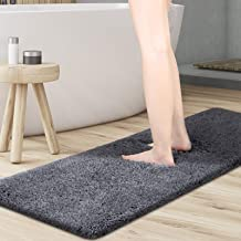 "KMAT Bathroom Rugs Microfiber Bath Mat 59""(W) x 20""(L),Luxury Soft Shaggy Shower Rug, Non-Slip Absorbent Plush Throw Rugs ..."