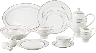 Lorren Home Trends La Luna Bone China 57-Piece Silver Embossed Design Dinnerware Set, Service for 8