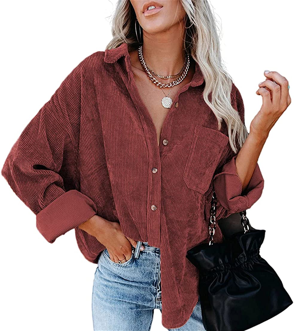 Nsirloi Womens Corduroy Shirt Long Sleeve Tunic Oversized Button Down Blouses Tops Loose Casual Jacket With Pockets Cardigan