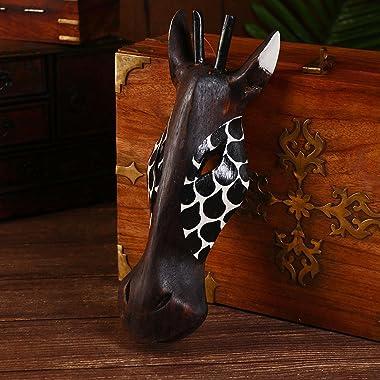 """African Masks Giraffe Mask Home Decor Wood Carved African Giraffe Wall Hanging Safari Decor (Black Giraffe 12"""")"""
