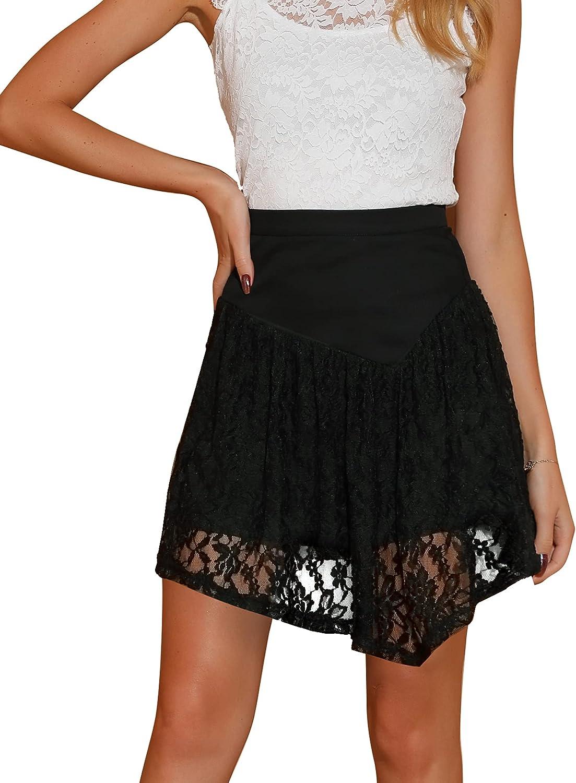 Allegra K Women's Lace Skirt Summer Asymmetrical Hem Short High Waist Mini Skirts