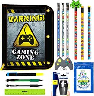Kids Video Gamer Pencil Pouch Binder Case with Coordinating Stationary Accessories-Pencils, Pens, Erasers & More- Unique Back to School Supplies, Stocking Stuffers, Easter Basket Fillers (Black Pouch)