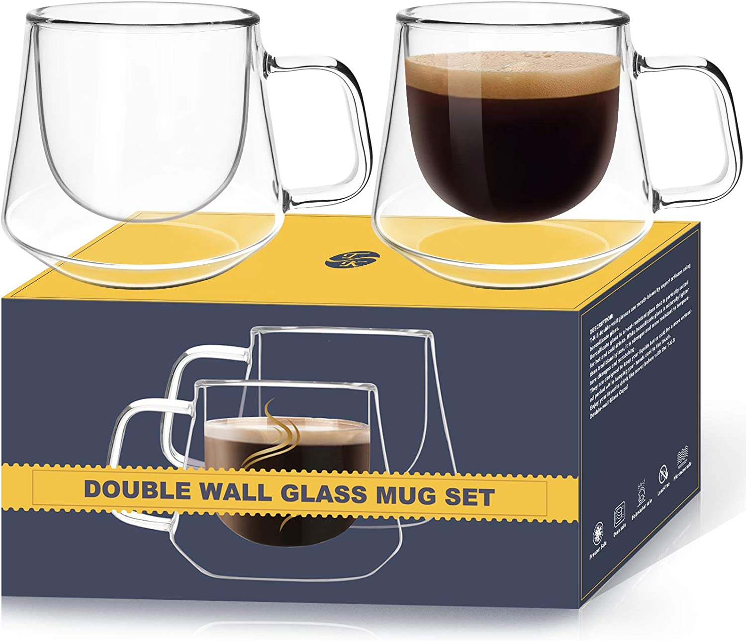 TKS [2-Pack,6.8 Oz] Latte Cups , Clear Cappuccino Cups ,Espresso Cups, Insulating Double Walled Glass, Set of 2 Glasses Cappuccino Mug with Handle(Tea Latte Glassware)