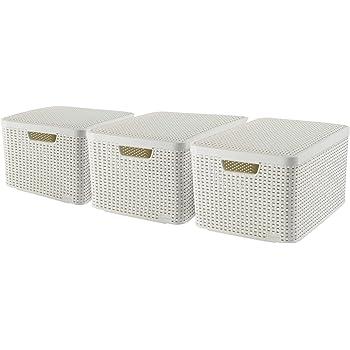 Curver 240656 - Set de 3 cestas Style con tapa, tamaño L, 30 litros, color blanco: Amazon.es: Hogar