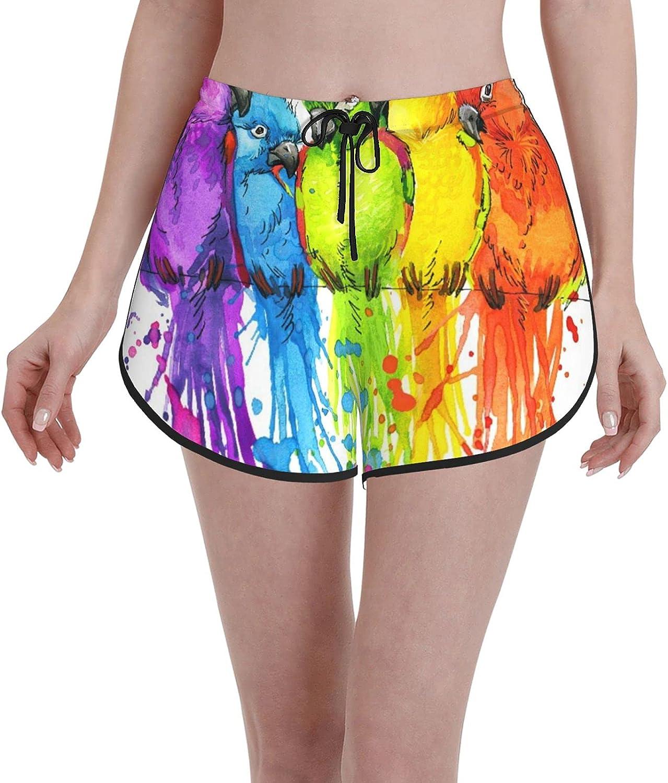 2021 autumn and winter new Women's Girl's Swim Trunks Swimsuit Parrots gift Funny Beachwear