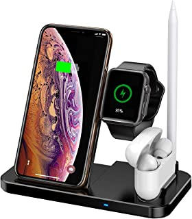 Phone and Watch Charging Station, 4 in 1 Wireless Charger Compatible Apple Watch Airpods Pencil, Qi 7.5W Fast Wireless Charging Stand Compatible iPhone 11/11 Pro/11 Pro Max/Xs MAX/XR/XS/X/8/8Plus