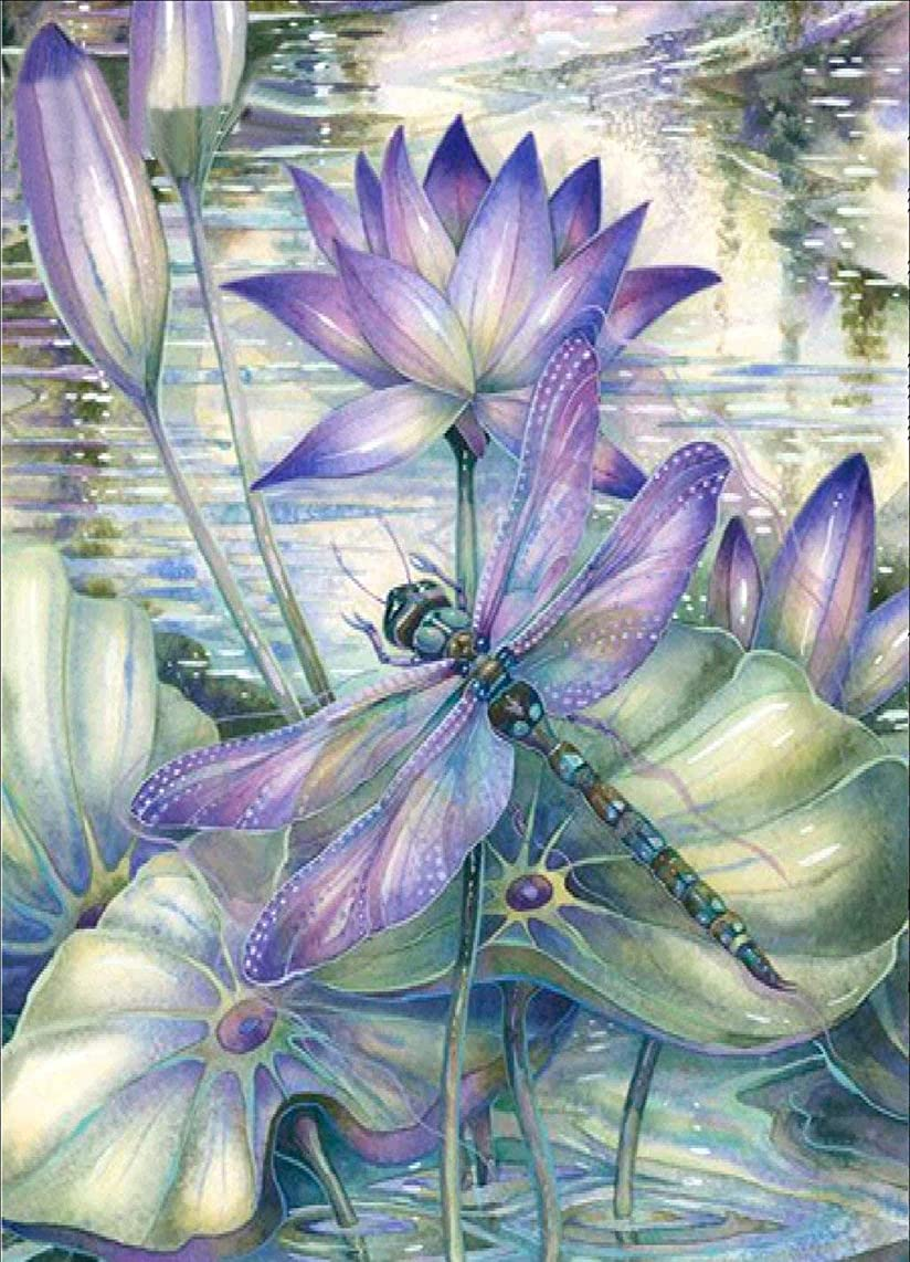 RICUVED 5D Diamond Painting by Number Kits, Dragonfly Full Drill Rhinestone Embroidery Cross Stitch Pictures Arts Craft for Home Wall Decor, 12 x16inch