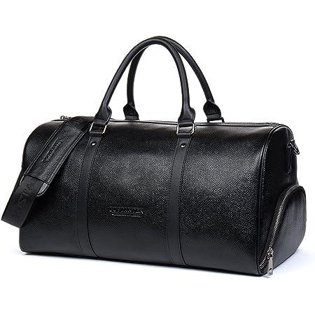 BOSTANTEN Men's Travel Duffle Bag Genuine Leather Weekender Overnight Bag for Gym Sports