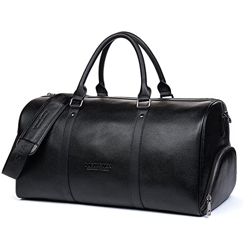 30016d3db0 BOSTANTEN Men s Genuine Leather Travel Bag Weekend Overnight Duffel Luggage  Bags for Gym Sports