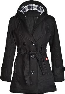 New Womens Hooded Belted Fleece Button Coat Ladies Check Hood Jacket Size 8-14 UK 14 US 10 Purple