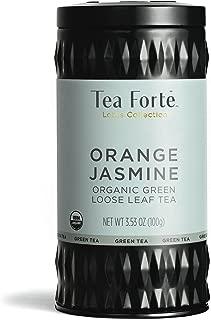 Tea Forte Organic Green Tea, Makes 35-50 Cups, 3.53 Ounce Loose Leaf Tea Canister, Orange Jasmine