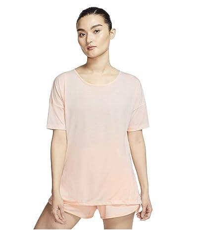 Nike Yoga Layer Short Sleeve Top (Washed Coral/Pink Quartz) Women
