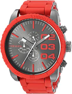 Diesel Double Down DZ4289 Stainless Steel and Silicone Band Chronograph Analog Watch for Men - Red, 50 mm