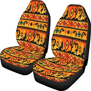 Dreaweet Native American Pattern Orange Seat Cover Southwest Universal fit Back Flexible, Ultra-Soft Seat Covers Pack of 2 Navajo Wolf Print