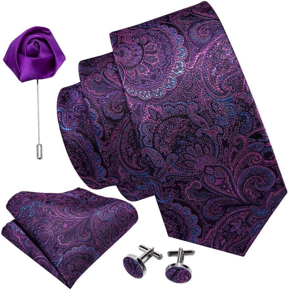 JIEIIFAFH Men Tie Purple Floral Wedding Silk Necktie Brooch Handkerchief Cufflink Set Fashion Designer Tie Compatible with Men Groom Gift