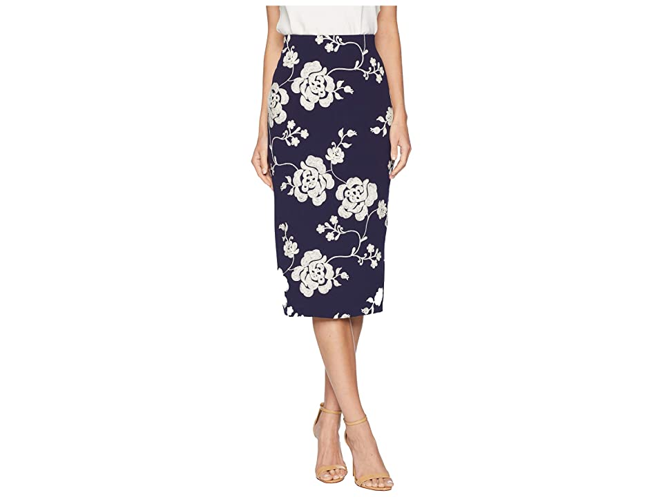 eci Embroidered Crape Scuba Stretch Glitter (Navy/Ivory) Women