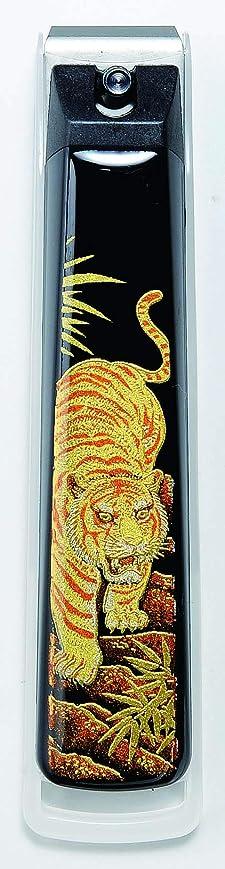 女性口ひげ文明蒔絵爪切り 虎 紀州漆器 貝印製高級爪切り使用