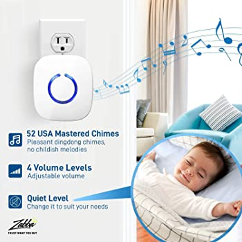 SadoTech White Wireless Doorbell Kit: Model C Wireless Doorbell for Home with 1 Push Button Transmitter and 1 Receive...