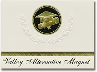 Signature Announcements Valley Alternative Magnet (Van Nuys, CA) Graduation Announcements, Presidential style, Elite package of 25 Cap & Diploma Seal. Black & Gold.