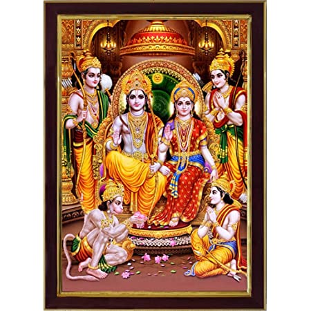 SAF Ram Darbar Sparkle Coated Framed Home Decorative Gift Item Painting (13.25 inch x 9.25 inch) SAFR3276 (Religious)