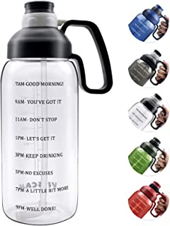 1890ml Water Bottle with Straw, Motivational Water Bottle with Time Marker Clear Large Water Bottle with Handle, 2L Sports...