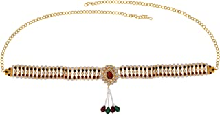 Memoir Brass Gold plated, Colourful crystal, Faux Ruby stones and drops studded, elegant Stylish Oval shaped design Tradit...